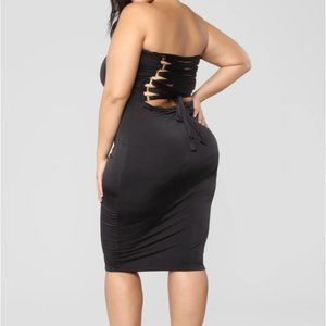 Fashion Nova Dresses - Black Back Lace-Up Midi Bodycon